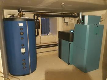 Installation chaudière à granulés avec silo